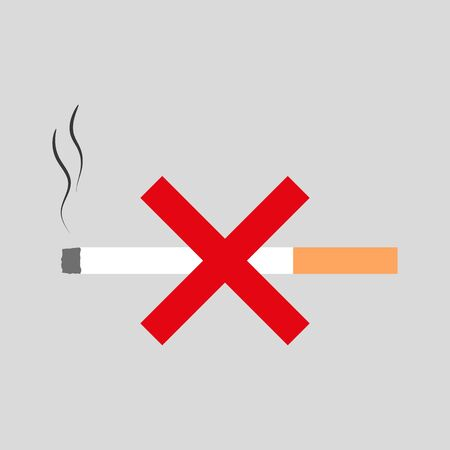 Pictogram vector illustration, no smoking.Smoldering cigarette with a red cross icon.Graphics element, flat design, cartoon style. Stock Illustratie