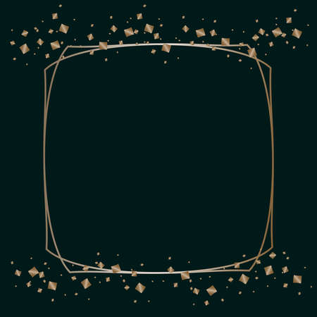 Vector graphics, delicate square shiny platinum frame on a dark background.Design decoration, graphic element for greeting cards, invitation, poster, photo.