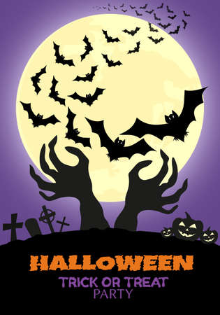 Halloween night vector illustration.Background for Halloween.Flying bats, terrible hands, moon, pumpkins and cemetery.Graphic element for banner, greeting cards, invitation, poster or website. 矢量图像