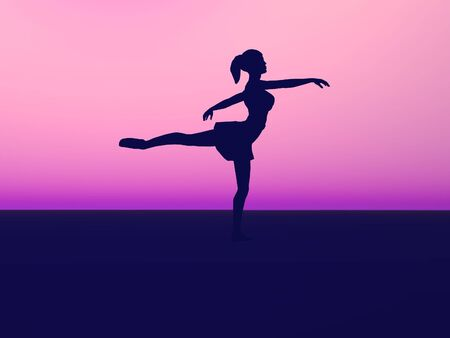 Silhouette of a ballet dancer. Stock Photo - 2673109