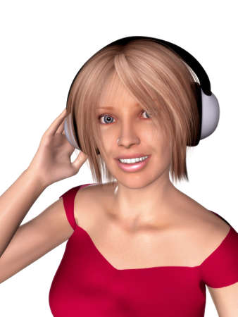 A girl with headphones on her head. photo