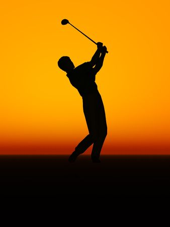 A silhouette of a man performing a golf swing.