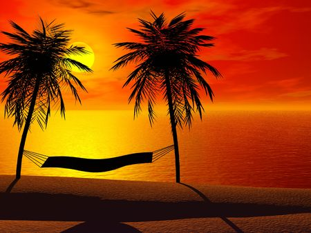 Silhoutte of a hammock between two palm trees in sunset.