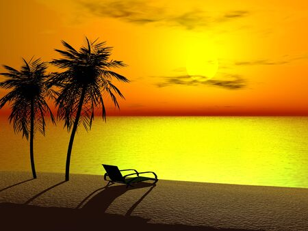 Silhoutte of two palms and a lounger at sunrise Stock Photo - 2673158