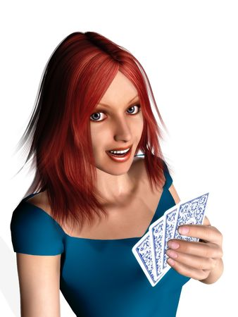 hand holding playing card: A woman with red hair holding cards in her hand.