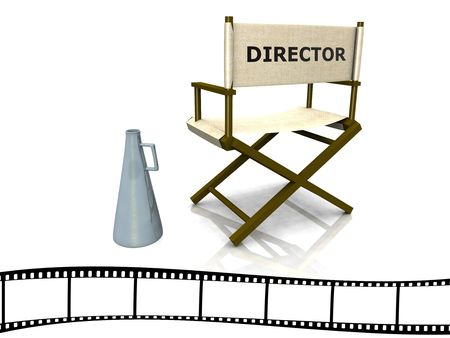 A director chair with a megaphone beside it and a film strip at the bottom. photo