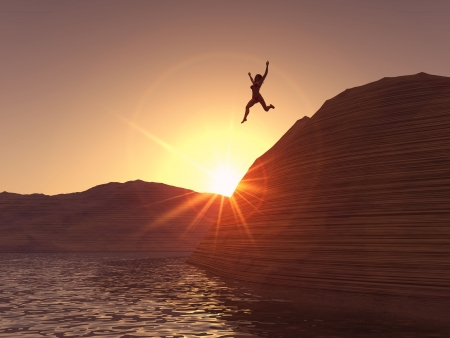 hopping: A woman jumping from a cliff in to the water. Stock Photo