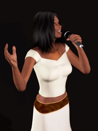A young beautiful black woman singing with a microphone in her hand. photo