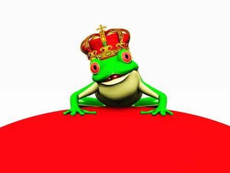 A frog with a crown on his head ready to turn into a prince. Stock Photo - 3092934