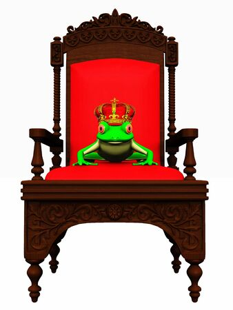 A frog with a crown on his head sitting in a chair ready to turn into a  prince. photo