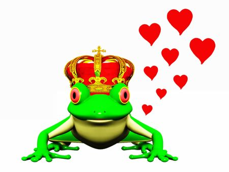 A frog with a crown on his head ready to turn into a prince.