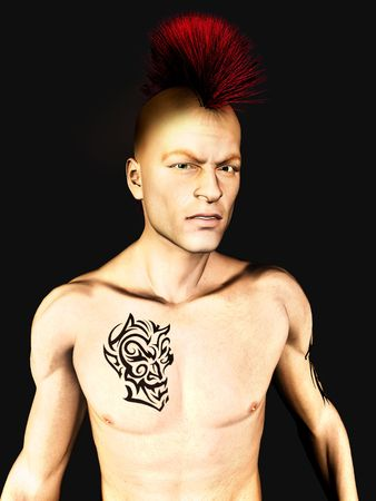punk hair: A male punk rocker with a mohawk hair and a tattoo on his arm and chest.