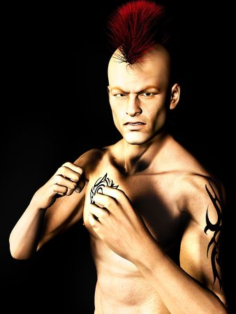 tough man: A male punk rocker with a mohawk hair and a tattoo on his arm and chest, ready to fight. Stock Photo