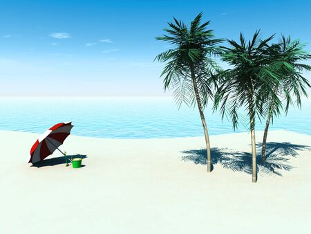 three palm trees: A sunny tropical beach with three palm trees, a bucket and spade and a sun