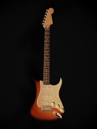 stratocaster: An electric guitar standing on the floor with a dark background.
