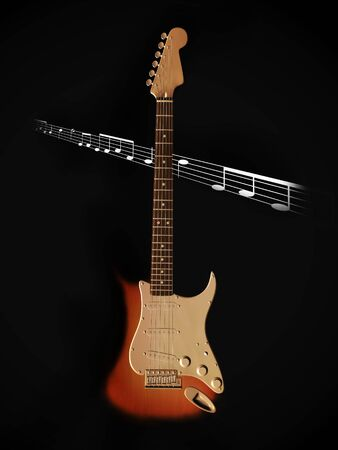 stratocaster: An electric guitar standing on the floor with a dark background and notes  coming out of the dark.