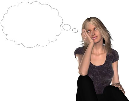 thoughtfulness: A woman dreaming about something illustrated by a blank thought balloon beside  her. Stock Photo