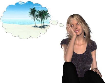 contemplating: A woman dreaming about going on a tropical vacation. Stock Photo
