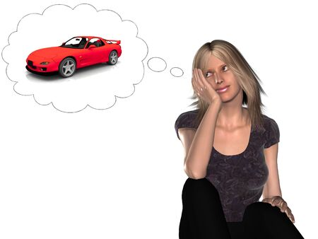 considering: A woman daydreaming about having a new cool sports car. Stock Photo
