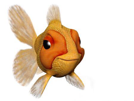 Una caricatura buscando peces de colores muy feliz y contenido. Foto de archivo - 3681925