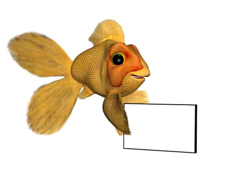 A cartoon goldfish holding a blank sign. photo
