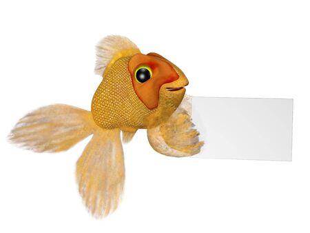A cartoon goldfish holding a blank sign. photo