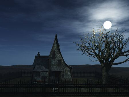 A spooky witch house at night with halloween pumpkins and a full moon. photo