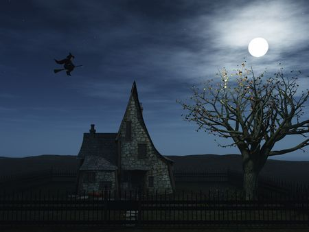 A spooky witch house at night with halloween pumpkins and a witch flying towards the full moon. Stock Photo