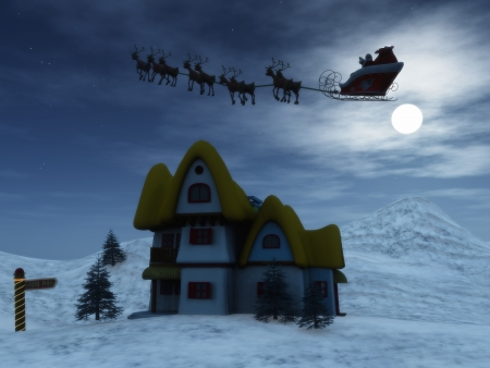 Santa Claus with his reindeers in the sky on a starry night. Stock Photo