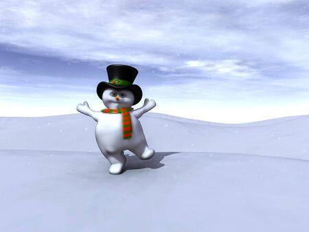 Un muñeco de nieve bailando feliz con la nieve cayendo a su alrededor. Foto de archivo - 4022958