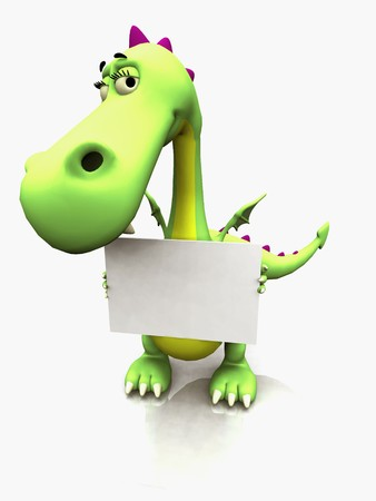 A cute cartoon dragon holding a blank sign in its hands. Stock Photo