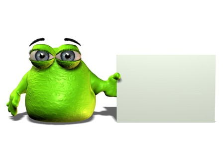 A green cartoon blob character holding a blank sign.