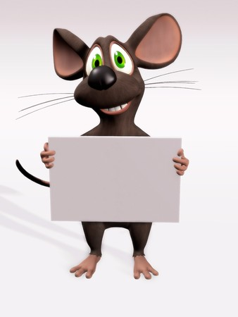 blank board: A cartoon mouse holding a blank sign. Stock Photo