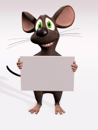 maus cartoon: Eine Karikatur der Maus, die eine leere Zeichen.