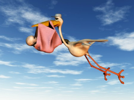 baby delivery: A flying stork holding a baby in a blanket in its beak.