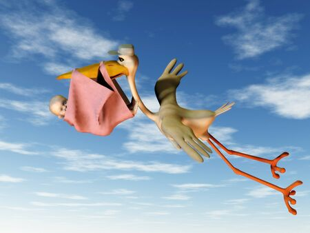 A flying stork holding a baby in a blanket in its beak. photo