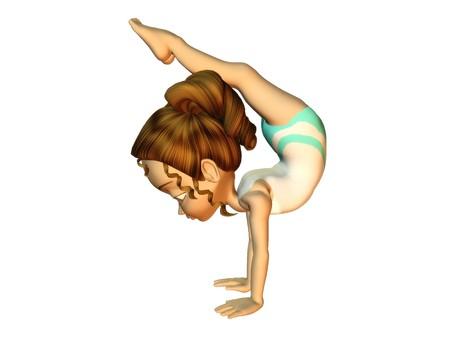 A cute cartoon girl doing a handstand.