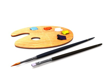 An artist palette with oilpaint and two brushes. Stock Photo