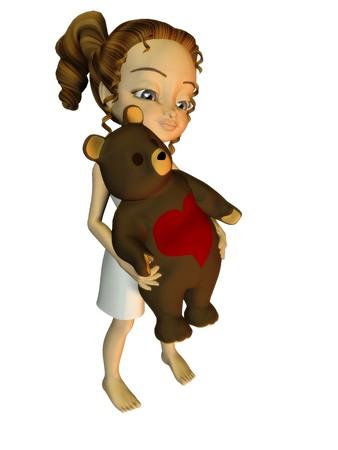 A cute cartoon girl holding a teddybear. photo