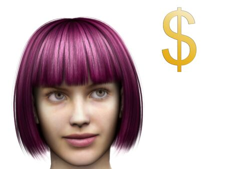thoughtfulness: A young woman thinking about money. (The woman is a computer generated 3d model so no model release is needed.)