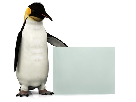 An emperor penguin holding a blank sign.