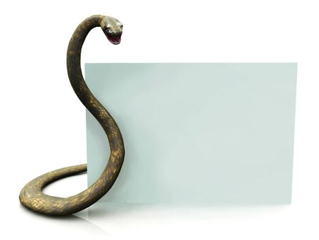 A blank sign beside a rattlesnake with its mouth open, ready to strike.