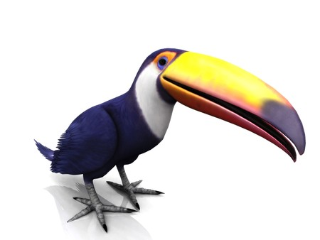 A smiling toucan bird on white background.