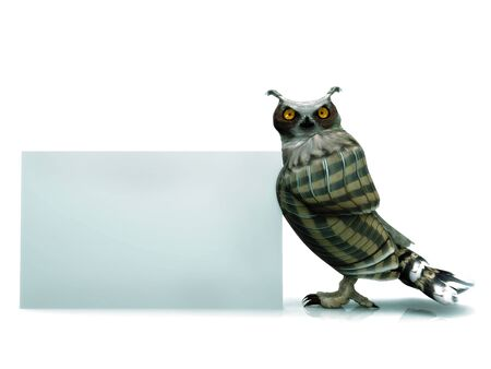 horned: A horned owl with a blank sign.