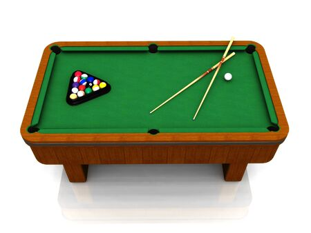 A billiard table with balls in a triangle and two cues. photo