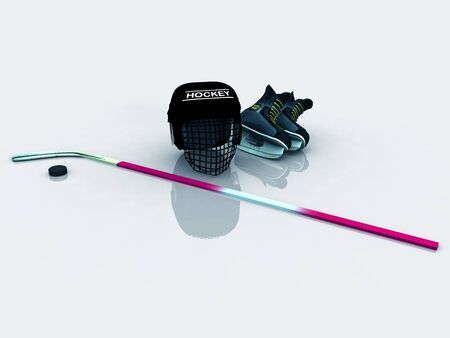A collection of hockey gear (helmet, skates, stick and puck) lying on the ice.