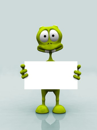 A cartoon alien holding a blank sign.