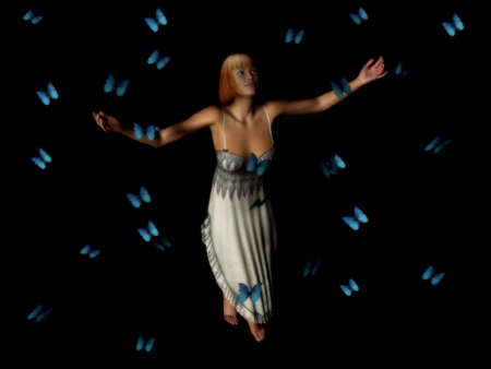 swarm: A woman standing in the middle of a butterfly swarm.