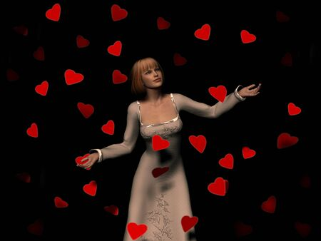 A woman surrounded by a lot of red falling hearts.  photo