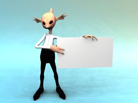 An alien like fantasy creature holding a blank sign. Stock Photo - 4571325